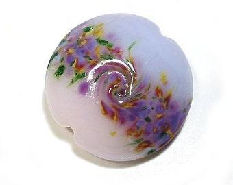 Glass Lampwork Bead Pink & Lavender Gardens Jumbo Lentil