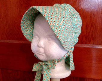 Mint Green Bonnet for Baby Girls, Size 6 to 12 Months
