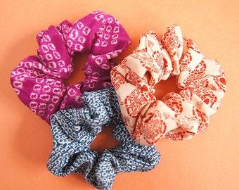 Japanese Kimono fabric Scrunchie - set of 3  -a-