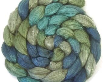 Handpainted Yak Silk Roving - 4 oz. BLUE EYES - Spinning Fiber