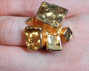 Chunky Gold Block Ring, Cubes, Cast Metal Size 6.5