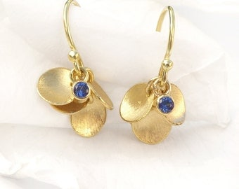 Blue Sapphire Earrings with 18ct Gold Petals - Eco Friendly - Handmade in the UK