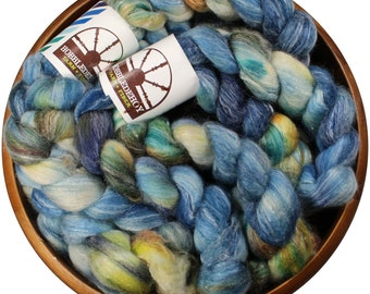 Bluebird - hand-dyed Merino wool / bamboo / silk (4 oz.) combed top roving