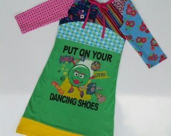 Size 8 (52 3/4 inch height) upcycled girls dress with print put on your dancing shoes