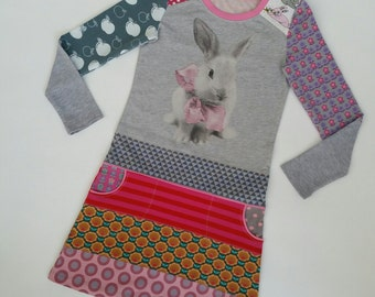 Size 6+ (48 inch height) upcycled girls dress with print bunny