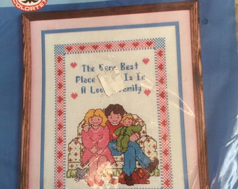 Colortex Vintage Counted Cross Stitch Kit-The Very Best Place to be is in a Loving Family-New and sealed