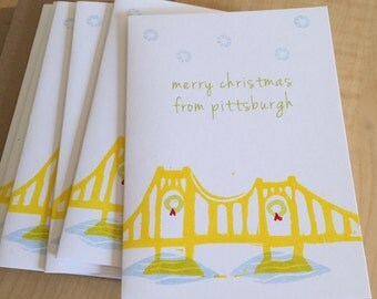 Pittsburgh Yellow Bridge Christmas Cards - Merry Christmas Cards - Pittsburgh Holiday Cards - Hand Printed Greeting Cards - Box of 6