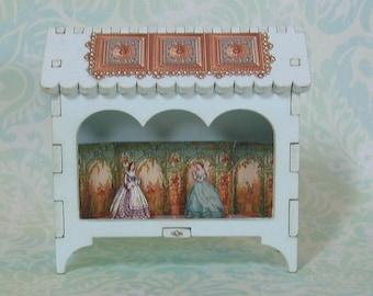 Miniature Three Arch Toy Theater Vignette with Aqua & Copper
