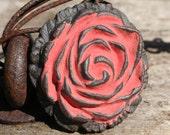 Handmade Ceramic Rose Shank Button