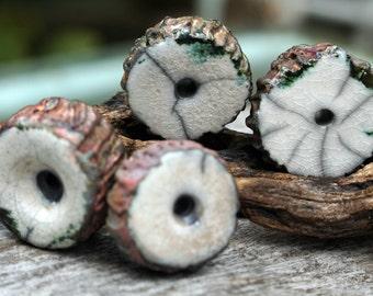 Handmade RAKU Bead Set of Four