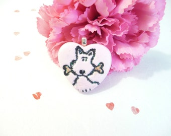 Cute Dog Heart Jewelry, Valentine's Day Jewelry, Dog Pendant Optional Necklace, Pink Jewelry, Pet Lover Gift, handmade polymer clay