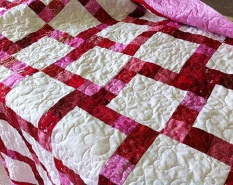 Lover's Kiss, Strip Quilt Pattern, Fat Quarter, PDF File Instant Download, Valentine Quilt, Sewing instruction, beginner pattern, jelly roll