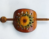 Sunflower Hair Stick Stamped Leather
