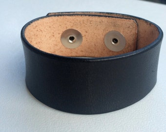 "Black Leather Cuff Wristband Bracelet, Black, 1"" Wide by Shaterra"