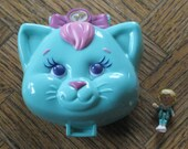 Polly Pocket Cuddly Kitty Compact with Polly Figurine, Cat Shaped PP Toy Made by Bluebird, 1993