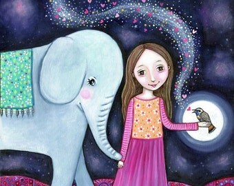 Elephant and Girl Wall Art Print Nightingale Folk Art Painting Art for Kids Nursery Children's Art Girl's Wall Decor Whimsical folk picture