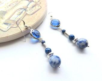 Long Sodalite Earrings, Blue Gemstones, Sterling Silver Dangle Earrings, Lapis Links, Round Balls, Denim Blue, Gift for Special Occasion