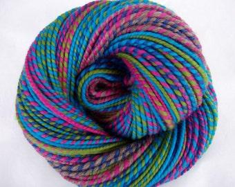 Handspun merino yarn, self striping yarn, bulky yarn, chunky yarn, dolls hair, teal, pink, green, FIND THE RABBIT, 4.2oz, 117yds