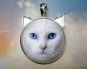 Custom Cat Pendant, Necklace or Key Chain - Choice of 4 Silver, Bronze, Black or Copper - Cat Face - Ears
