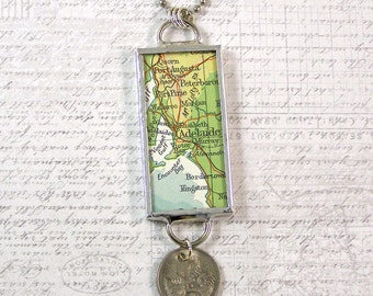 Adelaide Vintage Map and Coin Pendant Necklace