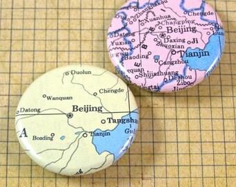 Beijing Map Pinback Button Set