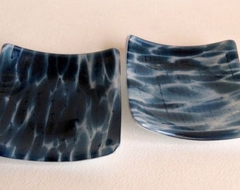 Small Fused Glass Serving Dishes, Blue Adventurine and White Glass, Statteam