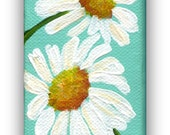 White daisies mini painting, acrylic mini canvas painting, aqua 2 x 4 canvas with Easel. mini canvas painting, small daisy art