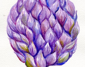 Original Artichoke Watercolor Painting  5 x 7 kitchen wall decor, Artichoke art, Watercolor Painting of Purple Artichoke, kitchen decor