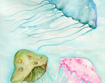 Jellyfish painting, jelly fish art, ocean decor, jellyfish wall art, watercolor painting, watercolor art  9 x 12 minty home decor