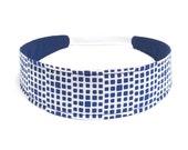 Headband for Women, Adult Headband, Womens Headband - Navy Blue, Off-White, Geometric Squares Headband  - NAVY & CREAM SQUARED