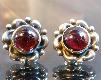 Small Rhodolite Red Garnet Earrings sterling silver swirls girls or ladies victorian dainty