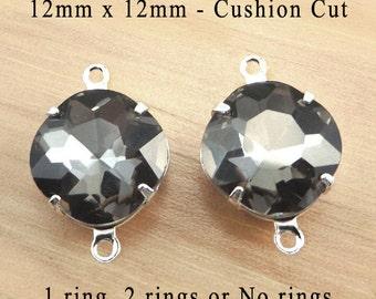 Black Diamond Cushion Cut Glass Beads, Octagon, Silver Plated Brass Settings, Glass Gems, 12mm x 12mm, Gray,  Rhinestone, Cabochon, One Pair