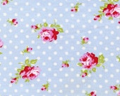 Buds in Blue / Pink Roses /Tanya Whelan Fabric /  DELILAH / 1 Yard Cotton Quilt Quilting Fabric
