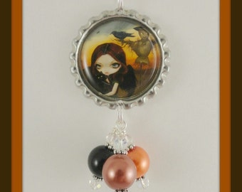 "Jasmine Becket-Griffith "" The Scarecrow "" bottlecap necklace"