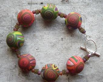 Chunky Sphere Polymer Clay Bracelet - Handmade Beads