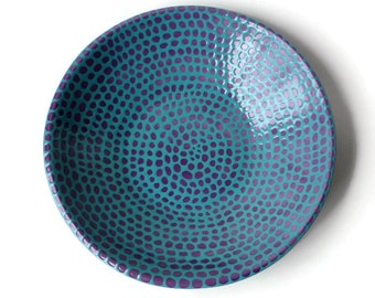 Large Serving Bowl with Doodle Design Purple and Turquoise