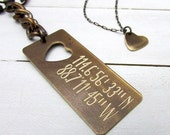 Boyfriend Gift | Couples Set | Custom Engraved Coordinate Keychain With Cut Out Heart Necklace | Brass, Silver Latitude, Longitude GPS