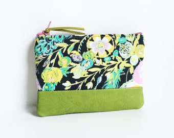 Pink Silk Mimosa Small Green Leather Coin Purse, Floral Zipper Pouch, Coin Pouch, 144 Collection