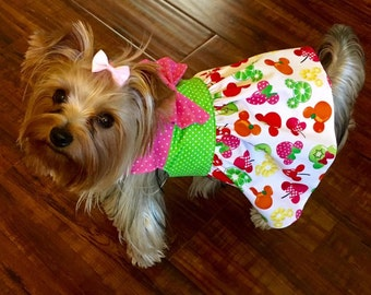Fruit Mickey Minnie Print Custom Dog Dress XXS - Medium