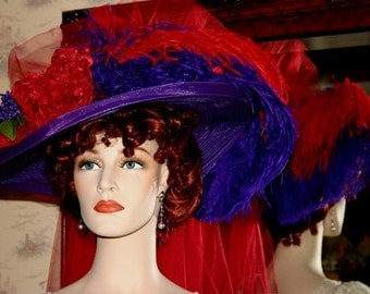 Edwardian Hat Ascot Hat Kentucky Derby Hat Tea Hat Titanic Hat Somewhere in Time Hat Downton Abbey Hat - Purple Crystal Fairy