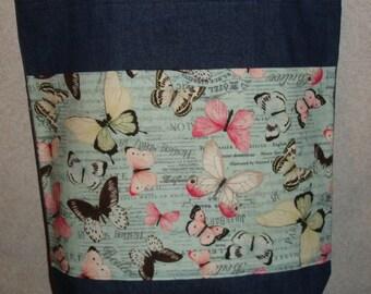 New Large Handmade Butterfly Butterflies Garden Pale Blue Bkgd Denim Tote Bag