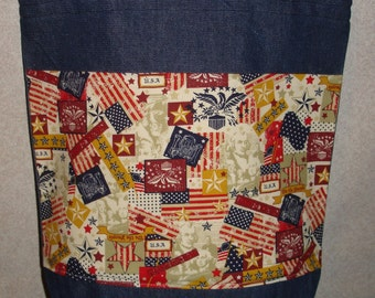 New Large Handmade Patriotic Classic Americana Flag Eagle USA Toss Denim Tote Bag