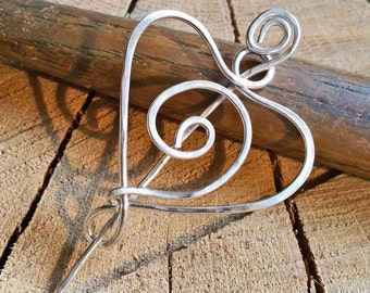 Sterling Silver Spiral Heart Shawl Pin, Scarf Pin, Closure, Sweater Cip, Brooch, Fastener -Gift for Her, Women, Knitting Accessories, Mother