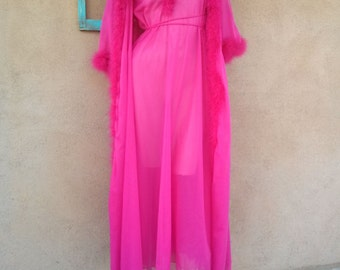 Vintage 1970s Robe Marabou Dressing Gown Hot Pink Small Medium 201632