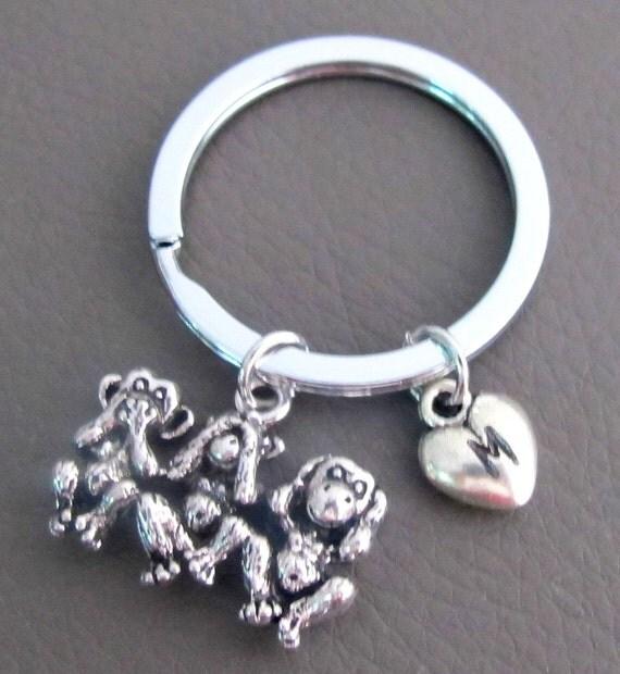 Three Monkeys Keychain, Three wise monkeys Charm, See no evil,Hear no evil,Speak no evil,Three Monkeys Jewelry,Custom Keychain Personalized