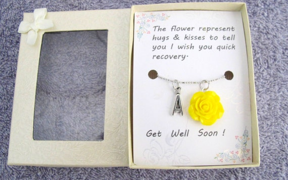 Get Well Soon Necklace Gift Custom Your Necklace Get Well Soon Handmade Gift With Yellow Flower Pendant Gift Card Free Shipping in USA