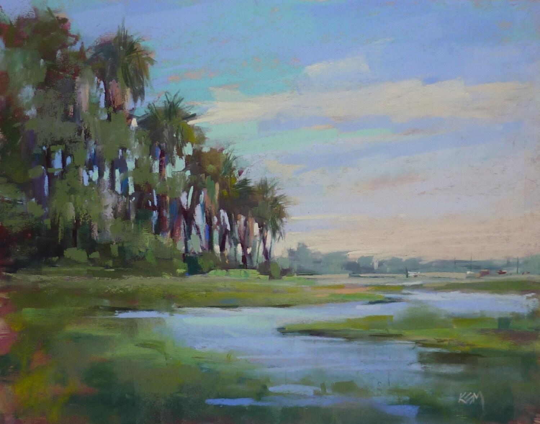 original pastel painting florida art palm trees marsh by karen