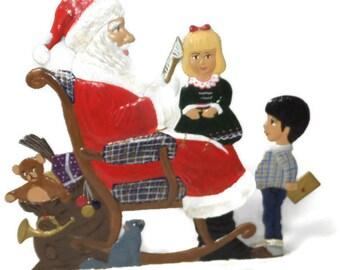 Bavarian Pewter Art - Wilhelm Schweizer Zinnfiguren, Artist Painted Christmas Collectible, We Visit Santa Claus, Zinn Diessen