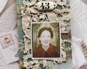 Miniature art quilt, portrait, photobooth, woman, number plate 43