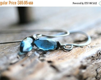 ON SALE Blue Topaz Earrings London Blue Topaz Earrings Topaz Earrings Sapphire Blue Earrings Luxe Blue Earrings Luxe Jewelry Gifts for Her